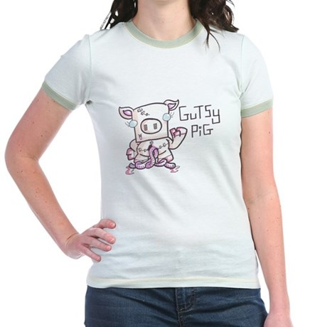 Womans 'Welcome-Back Pets' Pink Shirt Gutsy Pig