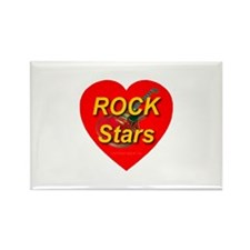 Rock Stars Red Heart & Guitar Rectangle Magnet