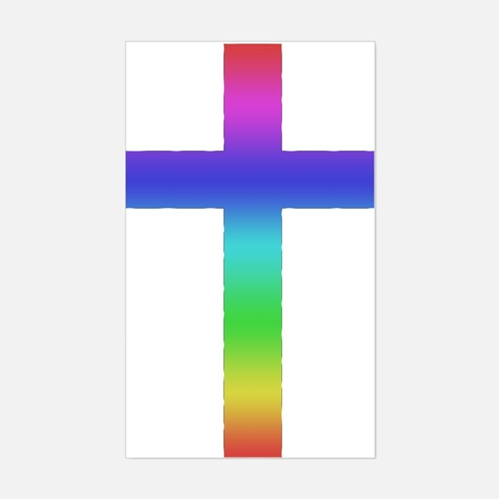 Gay Pride Cross Rectangle Decal