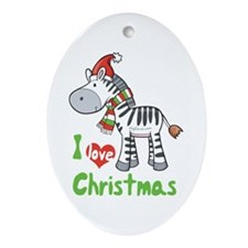 I Love Christmas Zebra Oval Ornament