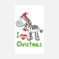 I Love Christmas Zebra Rectangle Sticker 10 pk)