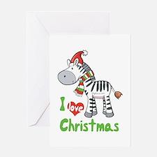 I Love Christmas Zebra Greeting Card
