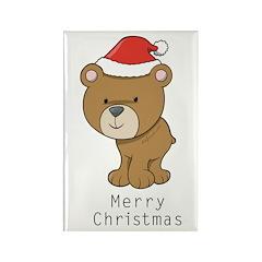 Merry Christmas Bear Rectangle Magnet (10 pack)