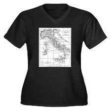 Augustus' Italy Map Women's Plus Size V-Neck Dark
