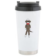 Sock Monkey Stainless Steel Travel Mug