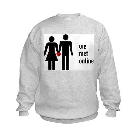 we met online Kids Sweatshirt