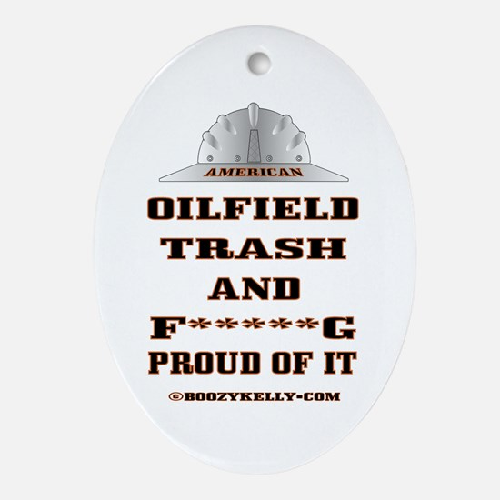 American Oil Field Trash Oval Ornament