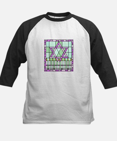 Star of David & Menorah Kids Baseball Jersey