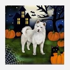 WHITE AKITA DOG HALLOWEEN NIGHT Tile Coaster