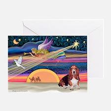 Xmas Star & Basset Greeting Card