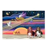 Xmas Star & 2 Bassets Postcards (Package of 8)