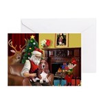 Santa's Basset Hound Greeting Cards (Pk of 10)