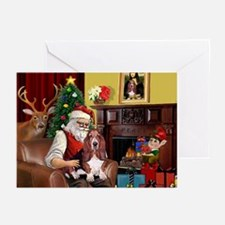 Santa's Basset Hound Greeting Cards (Pk of 10)