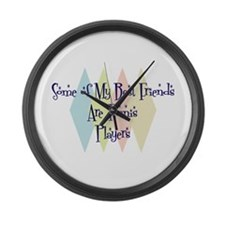 Tennis Players Friends Large Wall Clock