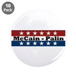 "RWB w/Stars McCain-Palin 3.5"" Button (10 pack"