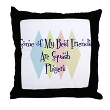 Squash Players Friends Throw Pillow