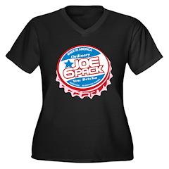 Joe 6 Pack Women's Plus Size V-Neck Dark T-Shirt