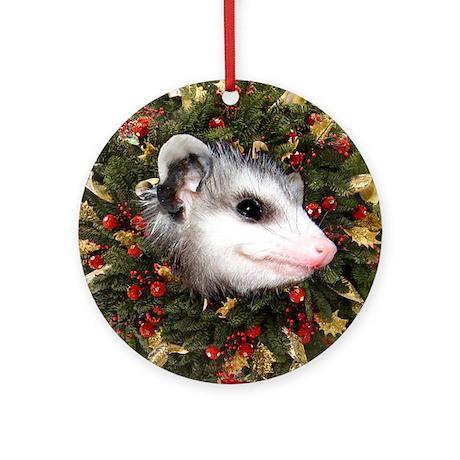 Possum Wreath Ornament (Round)