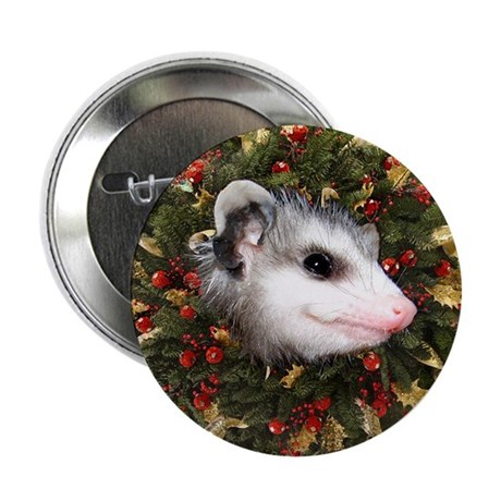 "Possum Wreath 2.25"" Button"