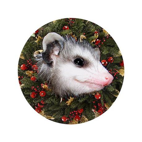 """Possum Wreath 3.5"""" Button"""