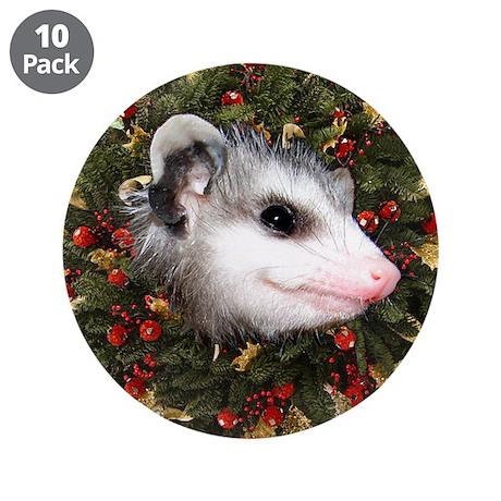 "Possum Wreath 3.5"" Button (10 pack)"