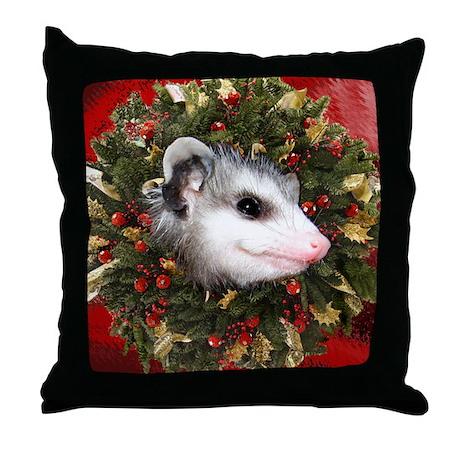 Possum Wreath Throw Pillow