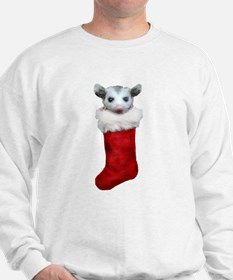 Baby opossum in a stocking Sweatshirt