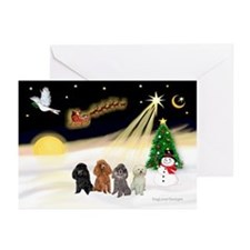 Night Flight/4 Poodles Greeting Cards (Pk of 20)