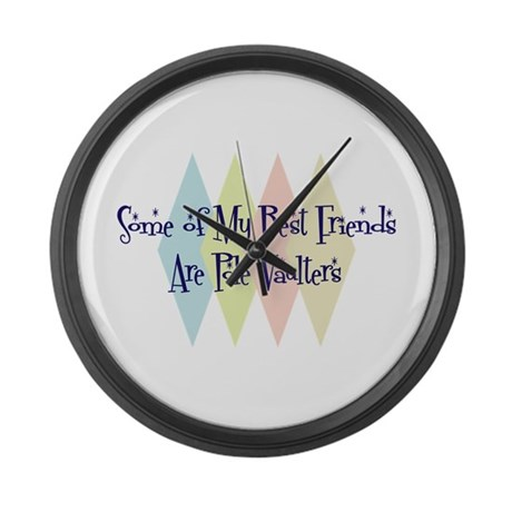 Pole Vaulters Friends Large Wall Clock