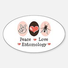 Peace Love Entomology Oval Decal