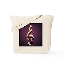 Cute Purple treble clef Tote Bag