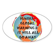 GLOBAL WARMING WARNING Oval Decal