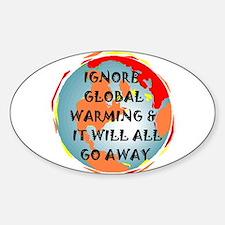 GLOBAL WARMING WARNING Oval Decal