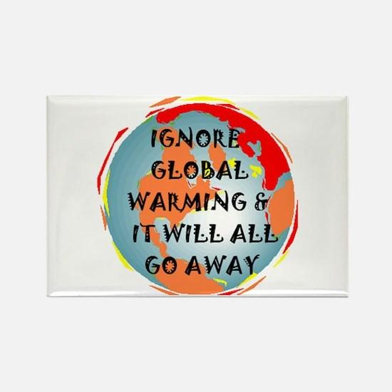 GLOBAL WARMING WARNING Rectangle Magnet