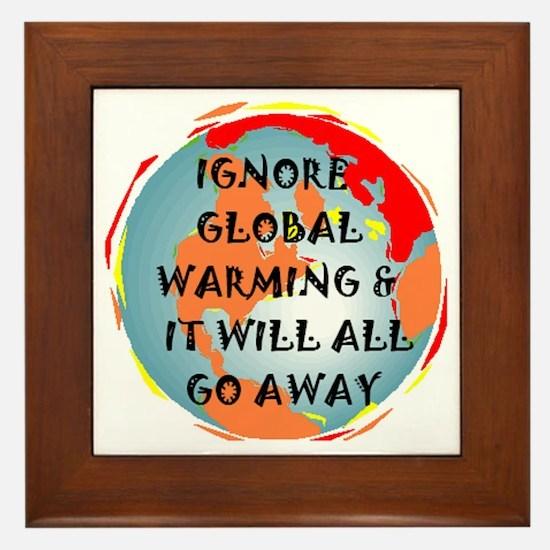 GLOBAL WARMING WARNING Framed Tile