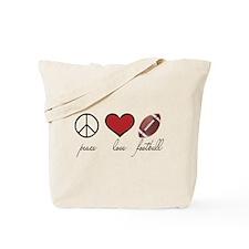 Peace Love Football Tote Bag