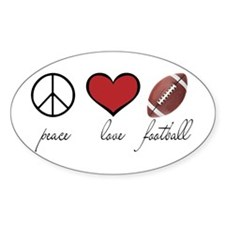 Peace Love Football Oval Decal