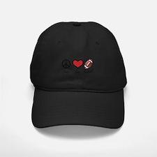 Peace Love Football Baseball Hat