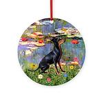 Lilies + Manchester Terrier Keepsake (Round)