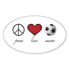 Peace Love Soccer Oval Decal