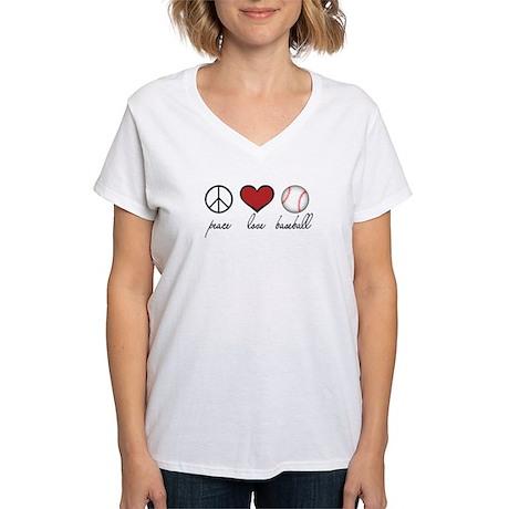Peace Love Baseball Women's V-Neck T-Shirt