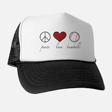 Peace Love Baseball Trucker Hat