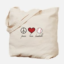 Peace Love Baseball Tote Bag