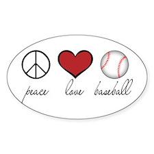 Peace Love Baseball Oval Sticker (50 pk)