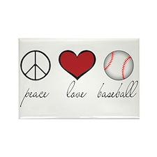 Peace Love Baseball Rectangle Magnet