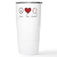 Peace Love Baseball Travel Mug