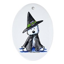 Witchy Westie Ornament (Oval)