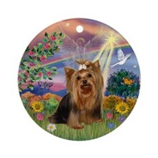 Cloud Angel & Yorkie Keepsake (Round)