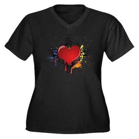 Love Color Splash Women's Plus Size V-Neck Dark T-