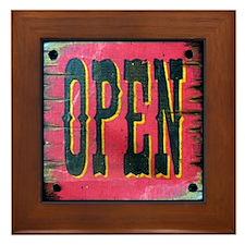 Western Open Sign Framed Tile